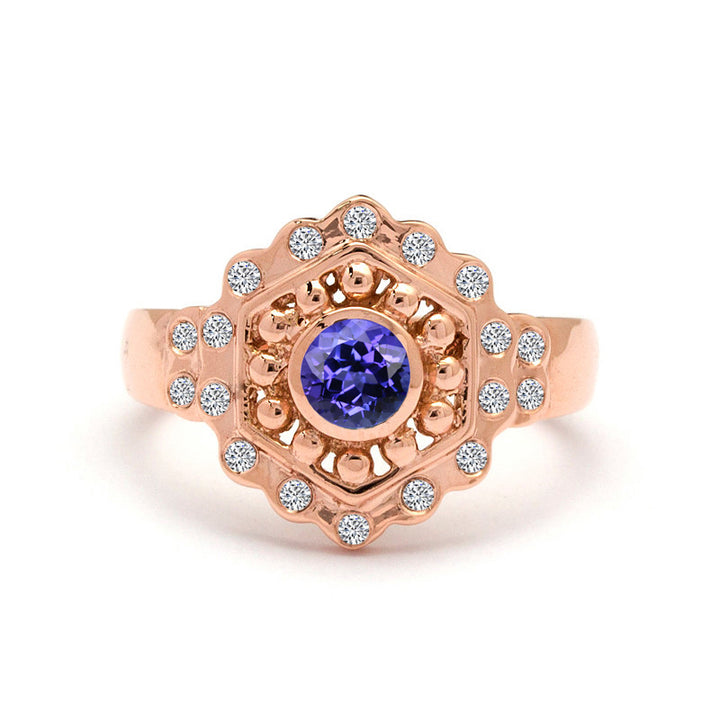 tanzanite engagement ring in rose gold