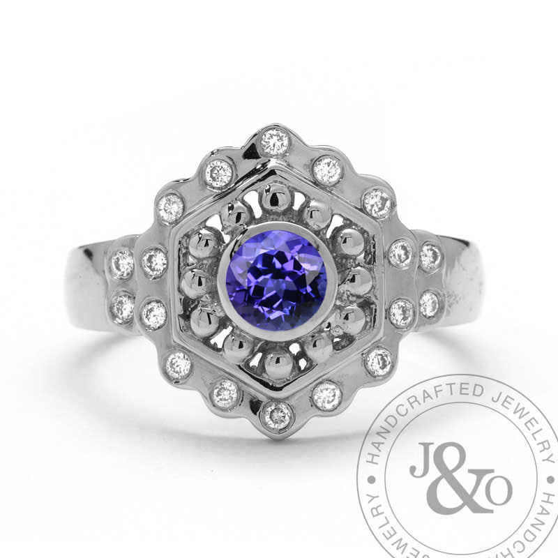 vintage style tanzanite engagement ring white gold