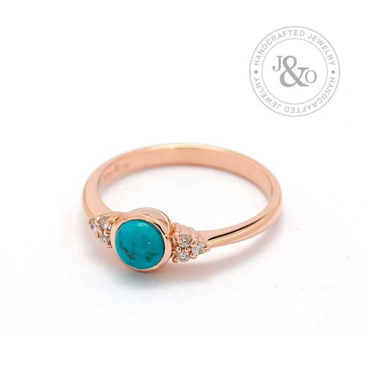 Rose Gold Turquoise Engagement Ring with diamonds