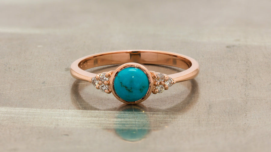 turquoise engagement ring with diamonds