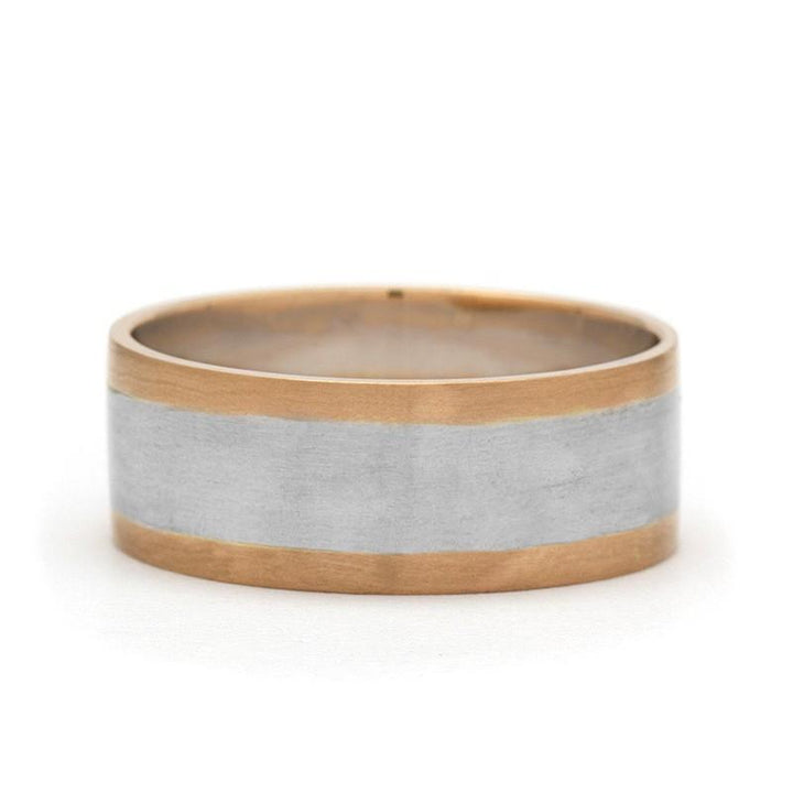 White And Rose Gold Mens Wedding Band
