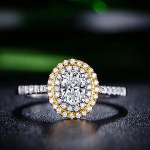 oval engagement ring with double halo