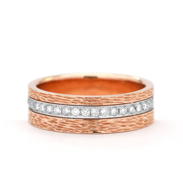 wide diamond wedding band rose gold