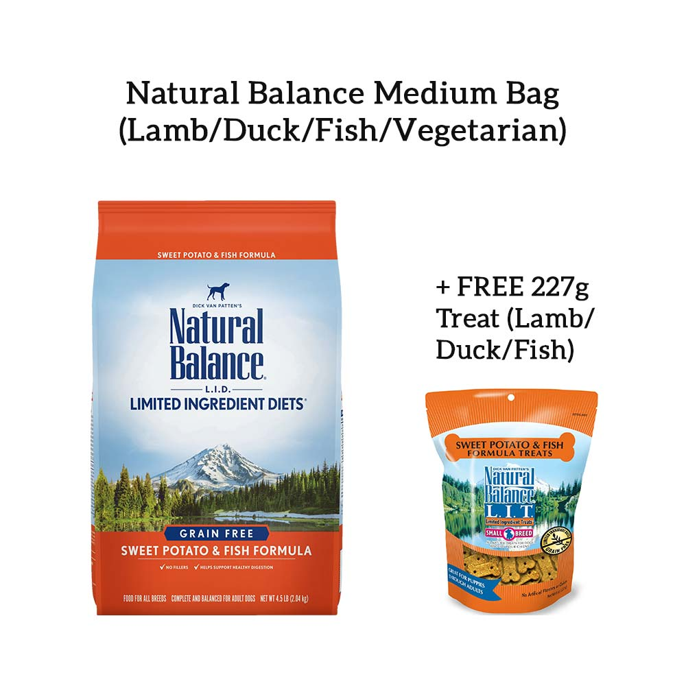 [Promo] Natural Balance Dog Food Medium Bag + Free Treat