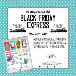 Black Friday Express Digital Printable Planner Stickers | PNG Files | Compatible with Goodnotes & iPad/Tablet Applications - Plannerologystudio