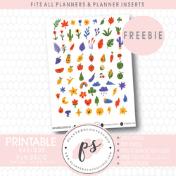 Cute Deco Elements Digital Printable Planner Stickers (Freebie)