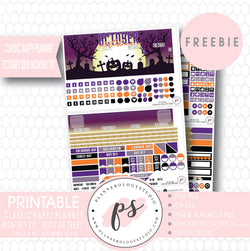 Trick or Treat Halloween Classic Happy Planner October 2018 Monthly Kit Digital Printable Planner Stickers (PDF/JPG/PNG/Silhouette Cut File Freebie) - Plannerologystudio