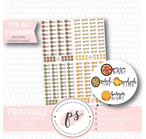 Various Meals Icons (Pizza Night, Sandwich Time, Salad Time, Burger Night) Digital Printable Planner Stickers - Plannerologystudio