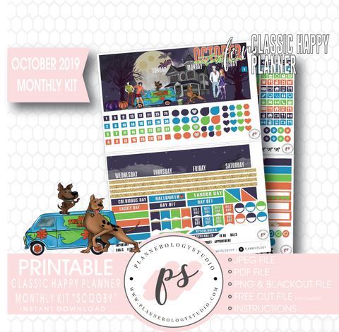 Scooby Halloween October 2019 Halloween Monthly View Kit Printable Planner Stickers (for use with Classic Happy Planner)