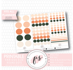 Round Dots & Circles Digital Printable Planner Stickers - Plannerologystudio