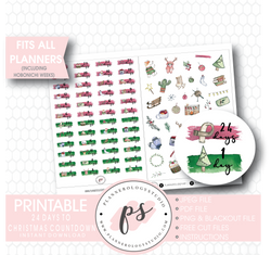 24 Days to Christmas & Deco Planner Icons Digital Printable Planner Stickers - Plannerologystudio