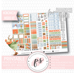 Winter Joys Weekly Kit Printable Digital Planner Stickers (for use with Hobonichi Weeks) - Plannerologystudio