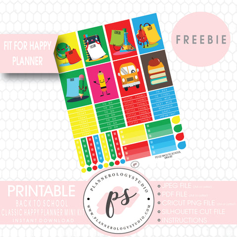Back to School Mini Kit Printable Planner Stickers (for use with Mambi Classic Happy Planner) (Freebie) - Plannerologystudio