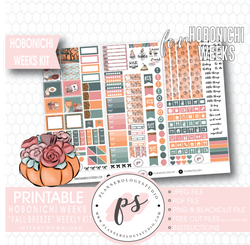 Fall Breeze Weekly Kit Printable Digital Planner Stickers (for use with Hobonichi Weeks) - Plannerologystudio