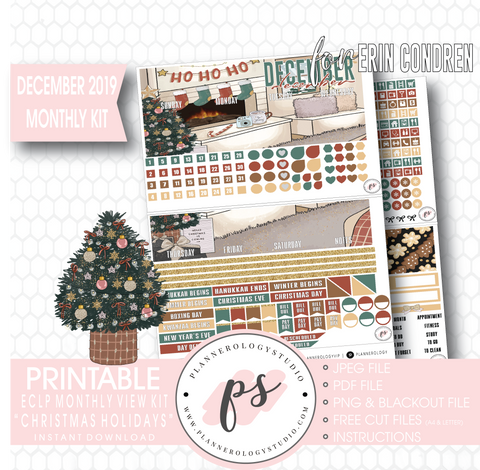 Christmas Holidays December 2019 Monthly View Kit Digital Printable Planner Stickers (for use with Erin Condren)