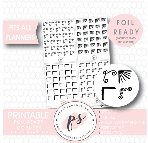 Bujo Style Foil Ready Corners Digital Printable Planner Stickers - Plannerologystudio
