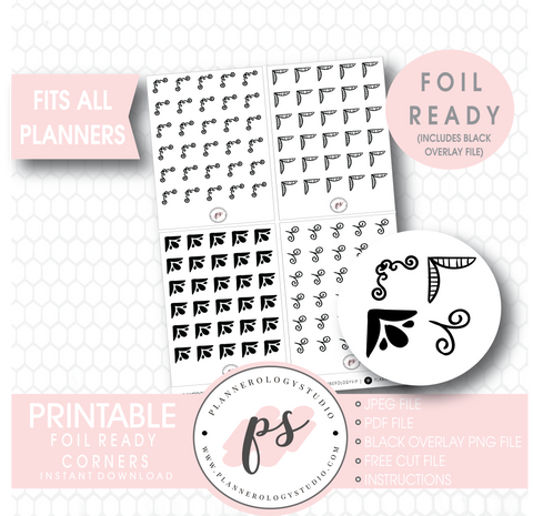 Bujo Style Foil Ready Corners Digital Printable Planner Stickers