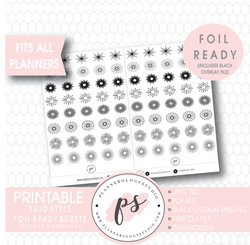 Bujo Bullet Journal Style Decorative Bursts Elements  Digital Printable Planner Stickers (Foil Ready) - Plannerologystudio
