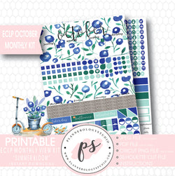 """Summer Bloom"" October 2017 Monthly View Kit Printable Planner Stickers (for use with ECLP) - Plannerologystudio"