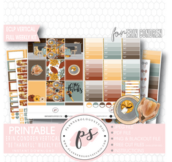 Be Thankful (Thanksgiving) Full Weekly Kit Printable Planner Digital Stickers (for use with Erin Condren Vertical) - Plannerologystudio