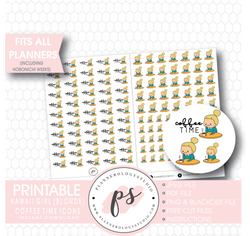 Coffee Time Icon Kawaii Girl (Blonde) Digital Printable Planner Stickers