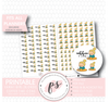 Coffee Time Icon Kawaii Girl (Blonde) Digital Printable Planner Stickers - Plannerologystudio