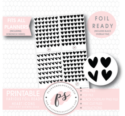 Decorative Heart Icon Digital Printable Planner Stickers (Foil Ready) - Plannerologystudio