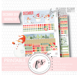 Winter Snow December 2019 Monthly View Kit Digital Printable Planner Stickers (for use with Classic Happy Planner) - Plannerologystudio