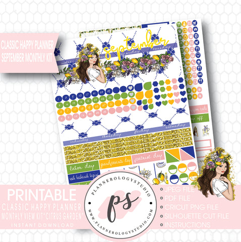 """Citrus Garden"" September 2017 Monthly View Kit Printable Planner Stickers (for use with Mambi Classic Happy Planner) - Plannerologystudio"
