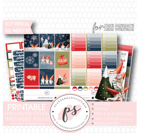 Winter Gnomes Full Weekly Kit Printable Planner Digital Stickers (for use with Erin Condren Vertical) - Plannerologystudio