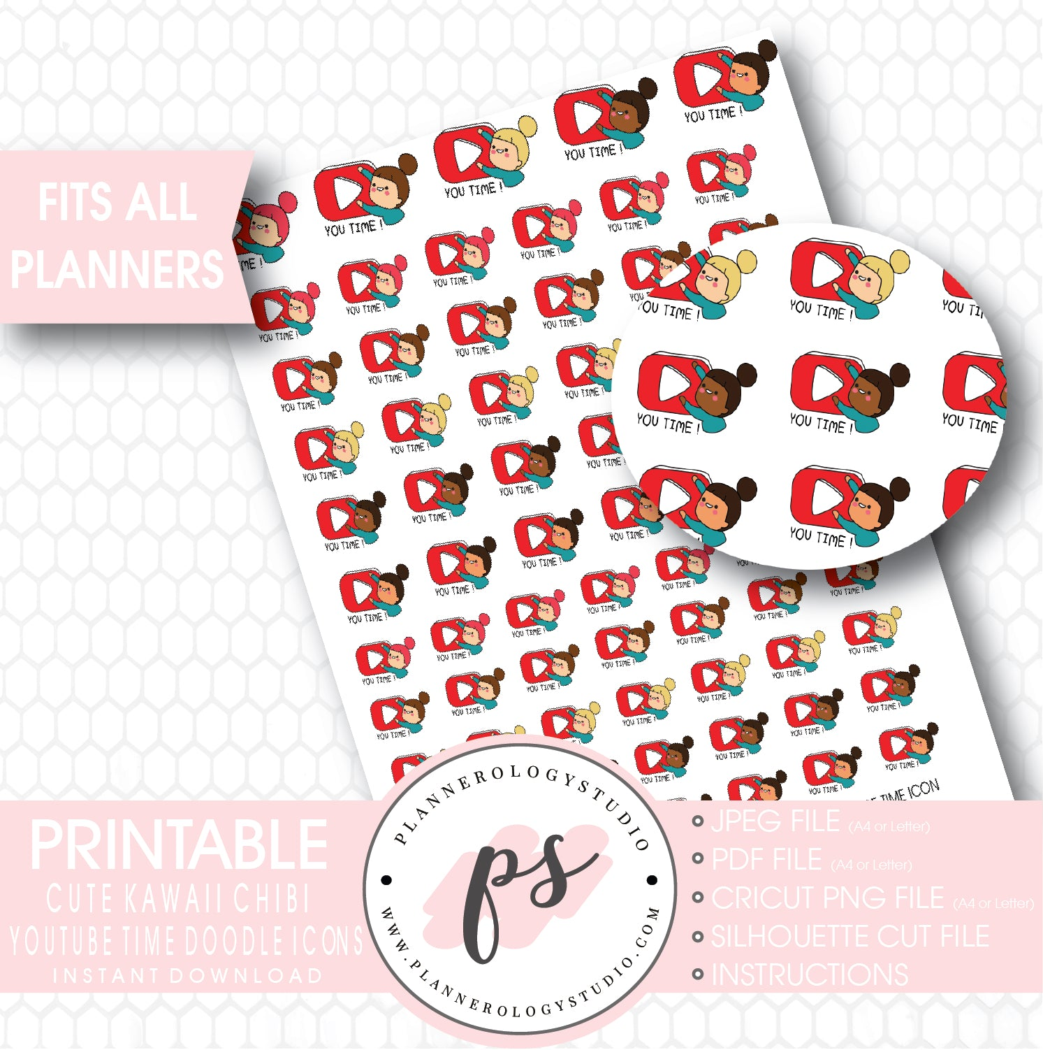 image relating to Cute Printable Stickers known as Kawaii Adorable Handrawn Doodle Chibi Woman Youtube Season Icon Printable Planner Stickers