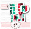 """Jolly"" (Christmas) Gold Glitter Specks Flags Printable Digital Planner Stickers"