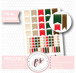"""Classic Christmas"" Gold Glitter Specks Flags Printable Digital Planner Stickers - Plannerologystudio"