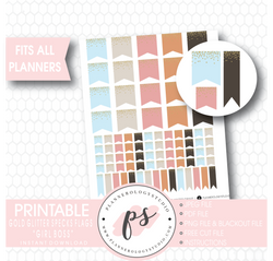 """Girl Boss"" Gold Glitter Specks Flags Printable Digital Planner Stickers - Plannerologystudio"