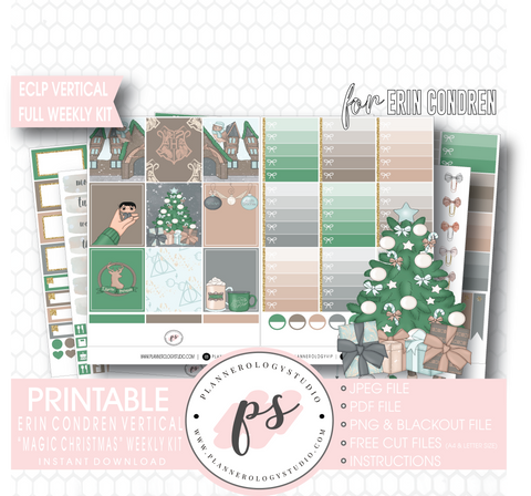 Magic Christmas (Harry Potter Inspired) Full Weekly Kit Printable Planner Digital Stickers (for use with Erin Condren Vertical) - Plannerologystudio