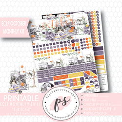 """Bewitched"" October 2017 Halloween Monthly View Kit Printable Planner Stickers (for use with ECLP) - Plannerologystudio"