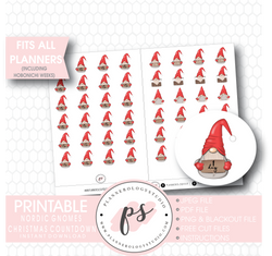 Nordic Gnomes 24 Days to Christmas & Deco Planner Icons Digital Printable Planner Stickers - Plannerologystudio