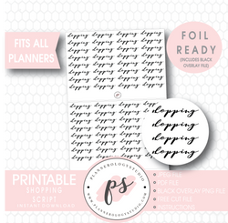 Shopping Script Digital Printable Planner Stickers (Foil Ready) - Plannerologystudio