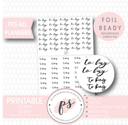 To Buy Script Digital Printable Planner Stickers (Foil Ready) - Plannerologystudio