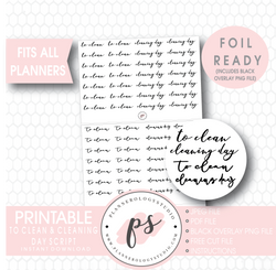 To Clean & Cleaning Day Script Digital Printable Planner Stickers (Foil Ready) - Plannerologystudio