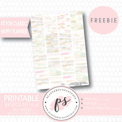 Watercolour Brushstrokes Full & Half Boxes Printable Planner Stickers (PDF/JPG/PNG Freebie) (for Classic Happy Planner) - Plannerologystudio