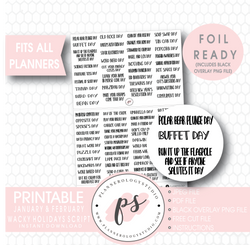 January & February Wacky Holidays Script Digital Printable Planner Stickers (Foil Ready) - Plannerologystudio