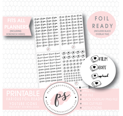 Youtube (Film, Edit, Upload) Script & Icon Digital Printable Planner Stickers (Foil Ready) - Plannerologystudio