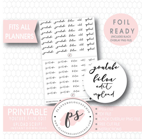 Youtube (Youtube, Film, Edit, Upload) Script Digital Printable Planner Stickers (Foil Ready) - Plannerologystudio