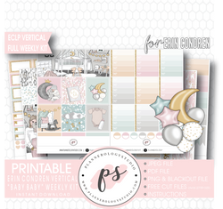 Baby Baby Full Weekly Kit Printable Planner Digital Stickers (for use with Erin Condren Vertical) - Plannerologystudio