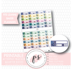 Afterpay Tracker Quarter Boxes Printable Planner Stickers (for Leanne Baker Planners) - Plannerologystudio
