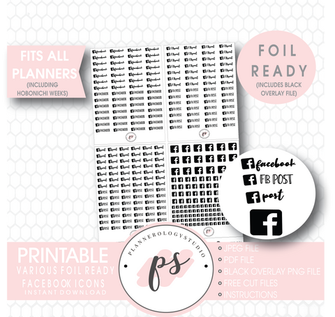 Facebook (FB Post, Post) Script & Icon Digital Printable Planner Stickers (Foil Ready) - Plannerologystudio