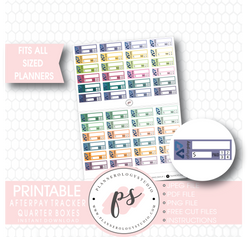 Afterpay Tracker Quarter Boxes Printable Planner Stickers - Plannerologystudio