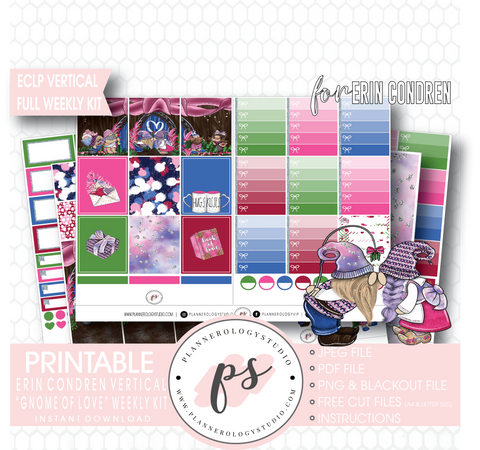 Gnome of Love Valentine's Day Full Weekly Kit Printable Planner Digital Stickers (for use with Erin Condren Vertical) - Plannerologystudio