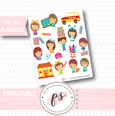 Back to School Kids Deco Sheet Printable Planner Stickers - Plannerologystudio